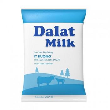 Thùng Sữa Tươi Tiệt Trùng Dalatmilk Ít Đường, Bịch 220ml