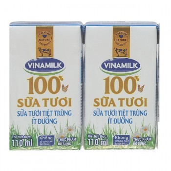 Sữa tươi tiệt trùng Vinamilk ít đường hộp 110ml