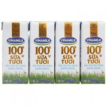 Sữa tiệt trùng Vinamilk không đường hộp 180ml