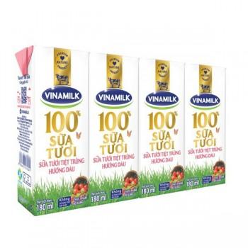 Sữa tươi Vinamilk tiệt trùng hương dâu, 180ml