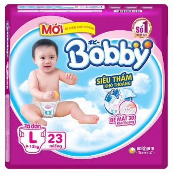 Tã dán Bobby siêu thấm L 23 miếng, trẻ 9-13kg