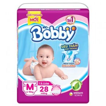 Tã dán Bobby siêu thấm M-28 miếng, trẻ 6-10kg