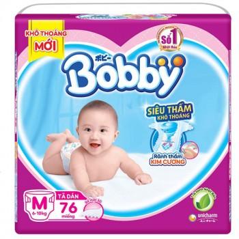 Tã dán Bobby siêu thấm M 76 miếng, trẻ 6-10kg