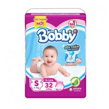 Tã dán Bobby siêu thấm S 32 miếng, cho bé 4-7kg