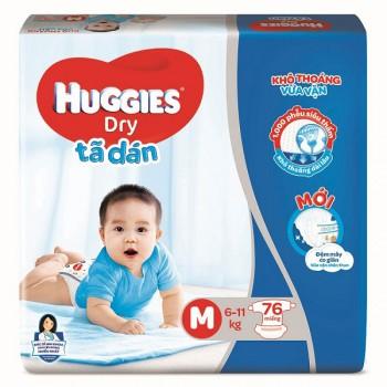 Tã dán Huggies Dry size M 74 miếng cho trẻ 5-10kg