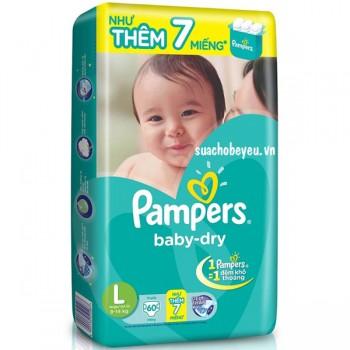 Tã Dán Pampers size L 60 miếng, cho trẻ 9-14kg