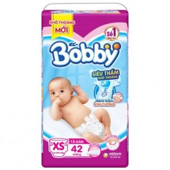 Tã dán sơ sinh Bobby size XS 42 miếng, bé < 5kg