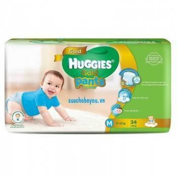 Tã quần Huggies Gold bé trai M 34 miếng, 6-12kg