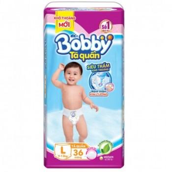 Tã quần Bobby size L 36 miếng, cho trẻ 9-13kg