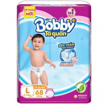 Tã quần Bobby size L 68 miếng, cho trẻ 9-13 kg