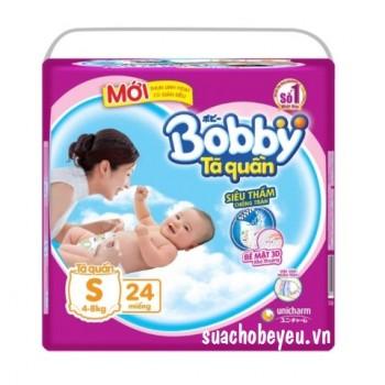 Tã quần Bobby size S 24 miếng, cho trẻ 4-8kg