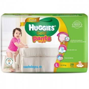 Tã quần Huggies Gold bé gái L 28 miếng, 9-14kg