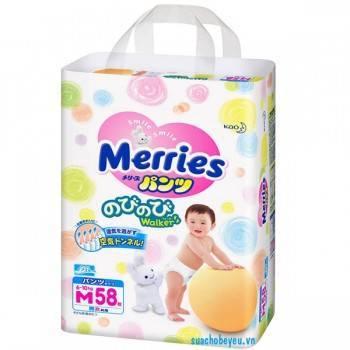 Tã quần Merries nhập khẩu size M 58 miếng, 6-10kg