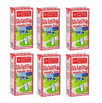 Sữa tươi nguyên kem Pháp Paysan Breton 6 hộp 1 lit