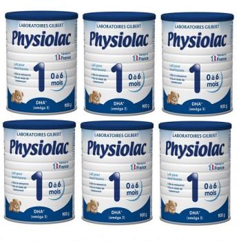 Thùng Sữa Physiolac số 1, 0-6 tháng, 900g, Gilbert