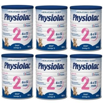 Thùng Sữa Physiolac 2, 6-12 tháng, Gilbert, 900g