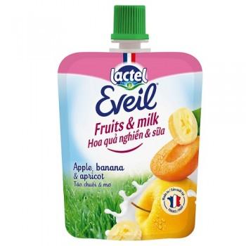 Trái cây tươi nghiền sữa Lactel Eveil táo, chuối, mơ