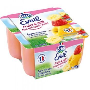 Trái cây tươi nghiền sữa Lactel Eveil táo, dâu tây, chuối