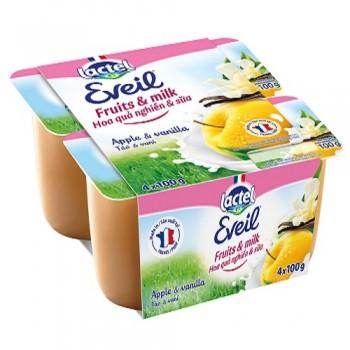 Trái cây tươi nghiền sữa Lactel Eveil táo vani