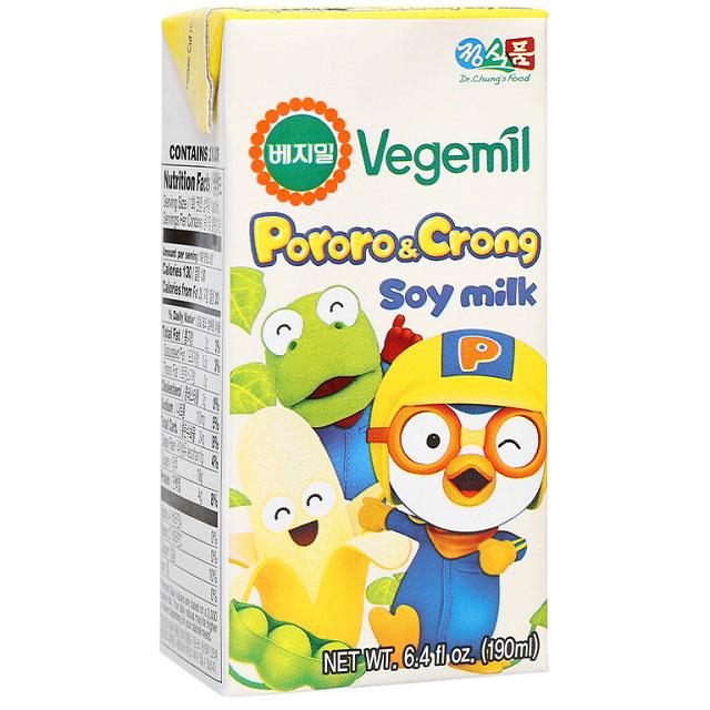 Sữa đậu nành Vegemil Pororo và Crong hương chuối hộp 190ml