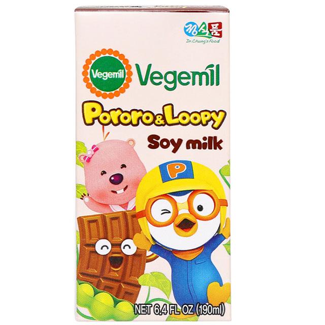 Sữa đậu nành Vegemil Pororo and Loopy socola 16 hộp 190ml