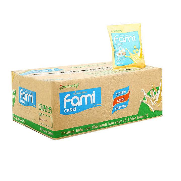 Thùng sữa đậu nành Fami canxi 200ml x40 bịch