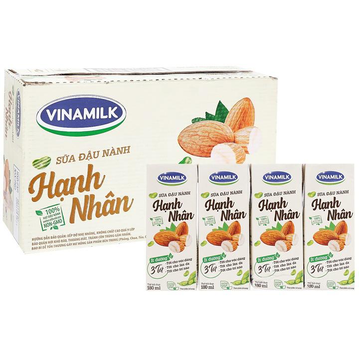 Thùng Sữa Đâu Nành, Hạnh Nhân Vinamilk, hộp 180ml