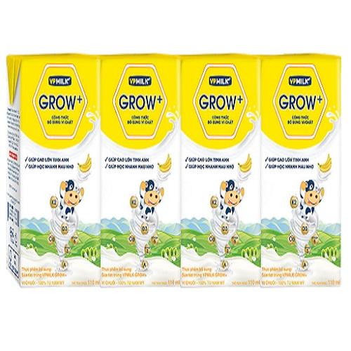 Sữa Dinh Dưỡng VPMilk Grow+ vị chuối  , Hộp 110ml