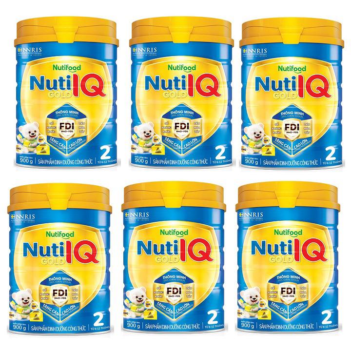 Thùng sữa Nuti IQ Gold số 2, 900g, trẻ 6-12 tháng