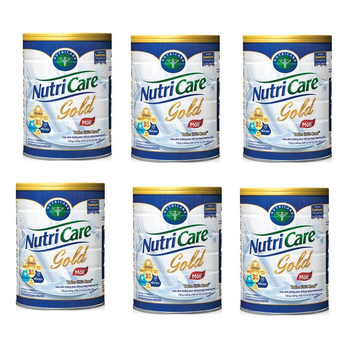 Thùng sữa NutriCare Gold 6 lon 900g dinh dưỡng cho người lớn