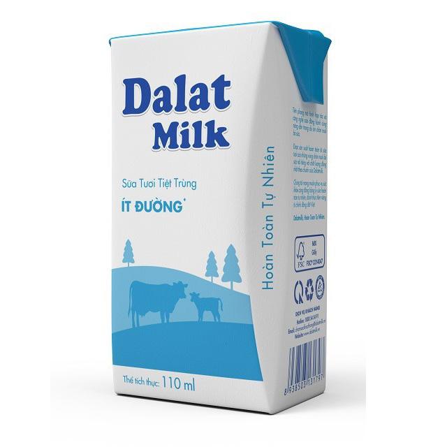 Thùng Sữa Tươi Tiệt Trùng Dalatmilk Ít  Đường, Hộp 110ml
