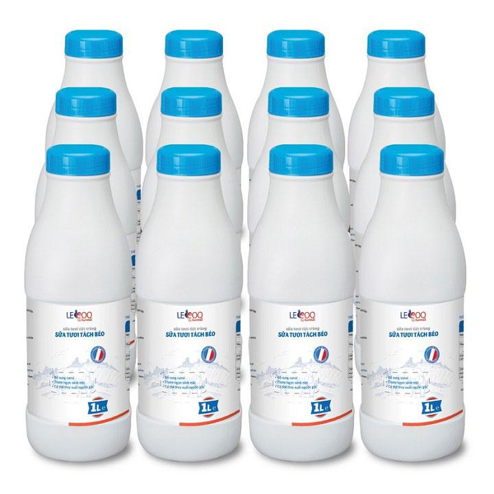 Thùng sữa tươi tách béo Lecoq Pháp 12 chai 1 lit