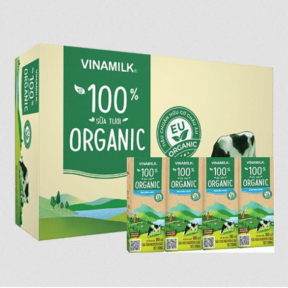 Sữa Tươi Hữu Cơ Organic Vinamilk, 24 hộp 180ml