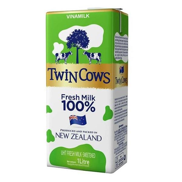 Sữa tươi Vinamilk Twin Cows có đường hộp 1 lít.