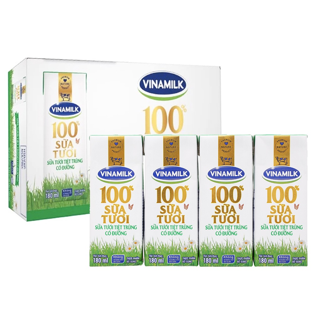 Sữa tươi tiệt trùng Vinamilk có đường 180ml