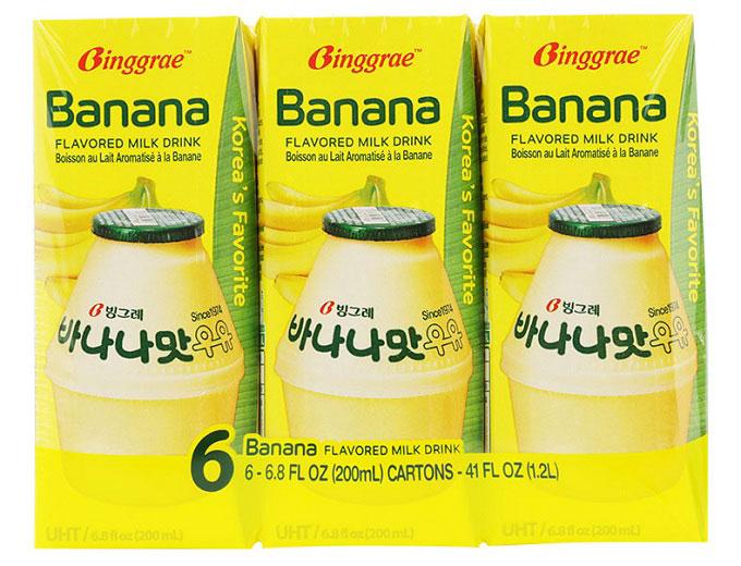 Sữa tiệt trùng Binggrae vị chuối, hộp 200ml