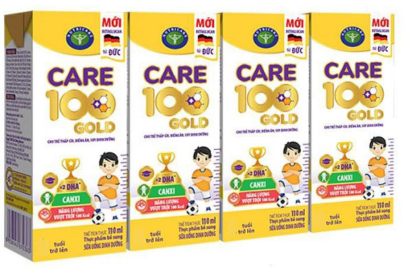 Sữa công thức pha sẵn Care 100 Gold hộp 110ml cho trẻ thấp còi, biếng ăn