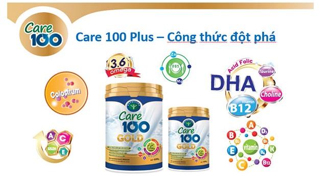 Sữa care 100 Gold hộp 900g dành cho trẻ biếng ăn từ 1-10 tuổi.