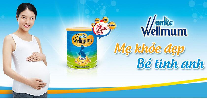 sữa cho mẹ mang thai và cho con bú anka wellmum lon 900g