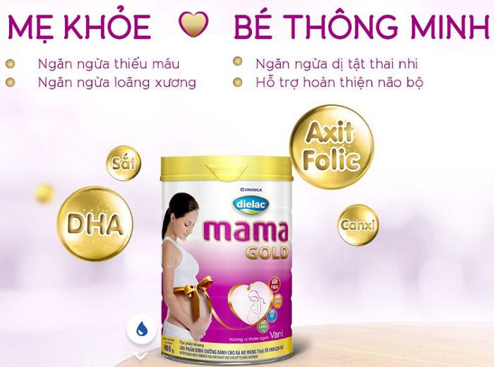 sữa cho mẹ mang thai Dielac mama gold lon 900g
