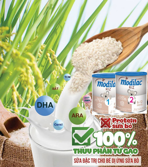 sữa Modilac Riz số 2 cho trẻ dị ứng đạm 6 đến 12 tháng tuổi lon 800g