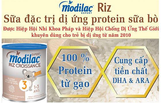 sữa Modilac Riz Croissance số 3 cho trẻ dị ứng đạm 1 đến 3 tuổi lon 800g