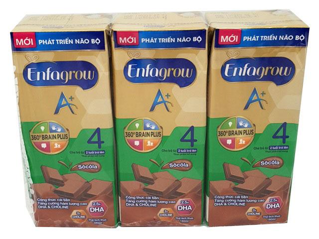 sữa nước enfagrow số 4 vị socola hộp 180ml cho trẻ từ 2 tuổi