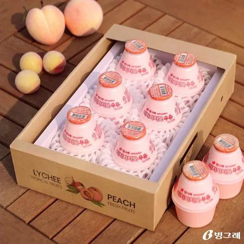 Thùng sữa Binggrae Hàn Quốc vị Vải, Đào Lychee & Peach