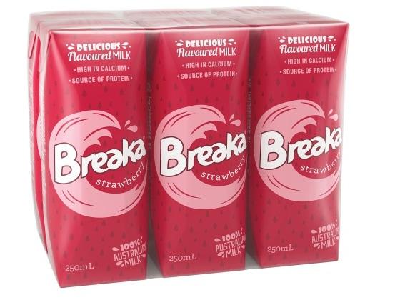 sữa break nhập khẩu úc vị dâu hộp 250ml