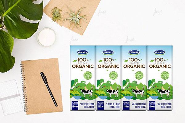 Sữa tươi Vinamilk Organic không đường, hộp 180ml