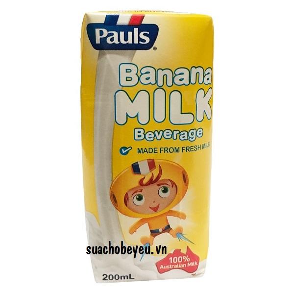 sữa tươi Pauls hương chuối nhập khẩu Úc hộp 200ml