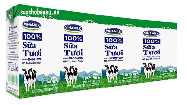 sữa tươi tiệt trùng vinamilk có đường hộp 110ml