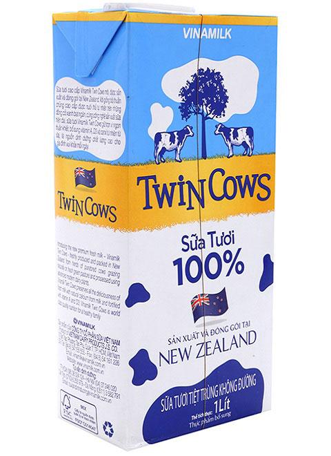 sữa tươi tiệt trùng vinamilk twin cows không đường hộp 1 lít