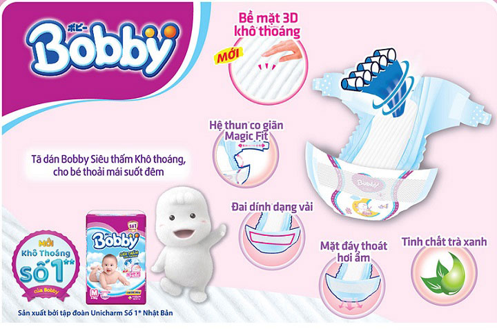 Tã dán sơ sinh Bobby size XS 42 miếng, trẻ sơ sinh đến 5kg